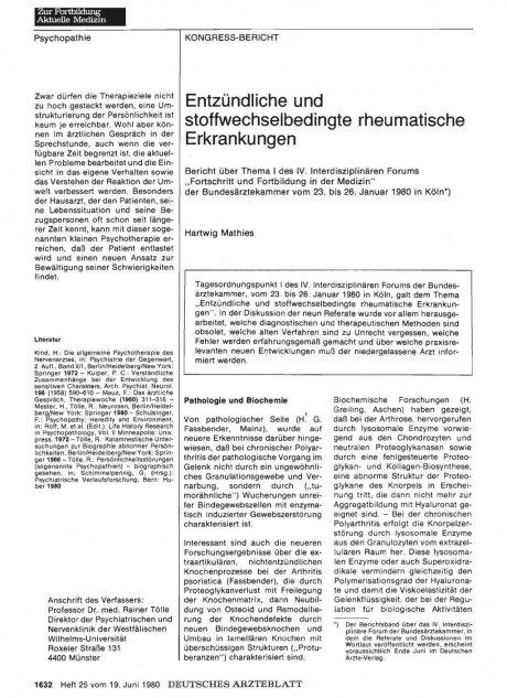 Entzündliche und stoffwechselbedingte rheumatische Erkrankungen