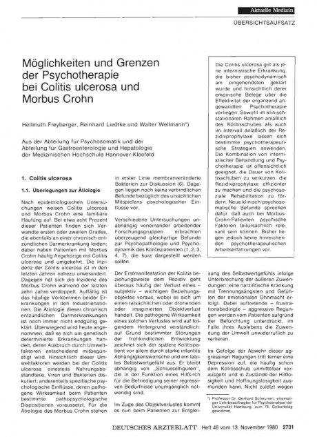Möglichkeiten und Grenzen der Psychotherapie bei Colitis ulcerosa und Morbus Crohn