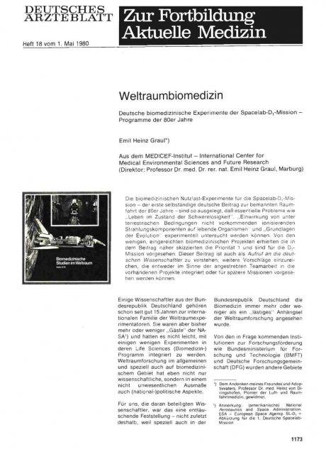 Weltraumbiomedizin: Deutsche biomedizinische Experimente der Spacelab-D -1 -Mission — Programme der 80er Jahre