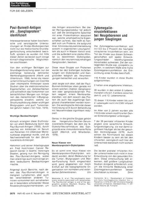 """Paul-Bunnel l-Antigen als """"Ganglioprotein"""" identifiziert"""