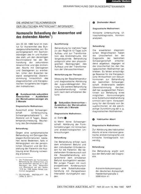 Hormonelle Behandlung der Amenorrhoe und des drohenden Abortes