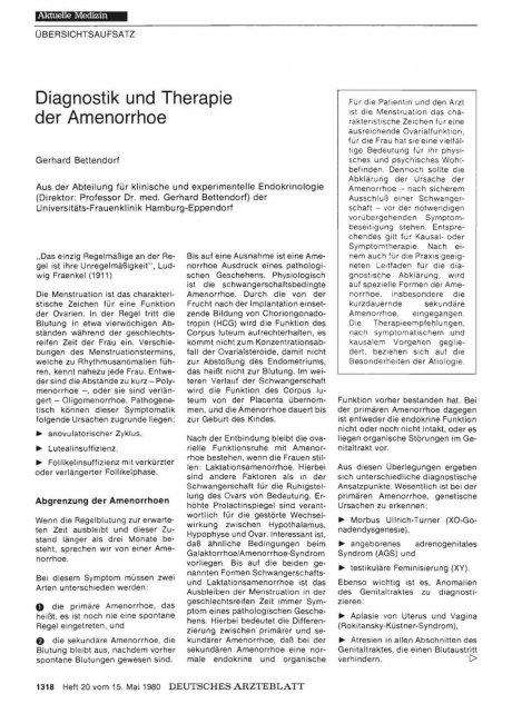 Diagnostik und Therapie der Amenorrhoe