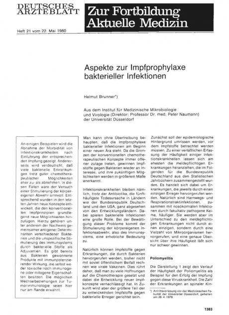 Aspekte zur Impfprophylaxe bakterieller Infektionen