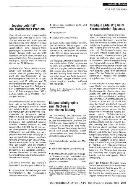Nifedipin (Adalat®) beim Koronararterien-Spasmus