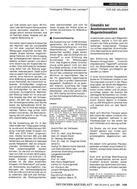 Cimetidin bei Anastomosenulzera nach Magenteilresektion