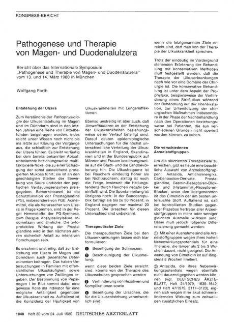 Pathogenese und Therapie von Magen- und Duodenalulzera