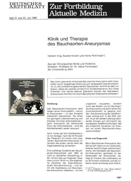 Klinik und Therapie des Bauchaorten-Aneurysmas