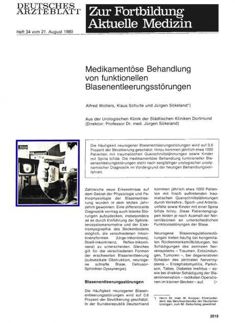Medikamentöse Behandlung von funktionellen Blasenentleerungsstörungen