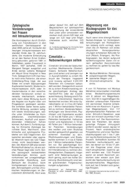 Zytologische Veränderungen bei Frauen mit Intrauterinpessar