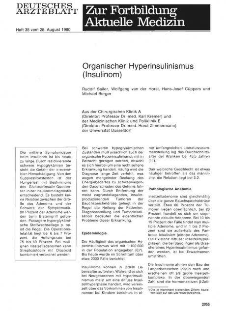 Organischer Hyperinsulinismus (Insulinom)