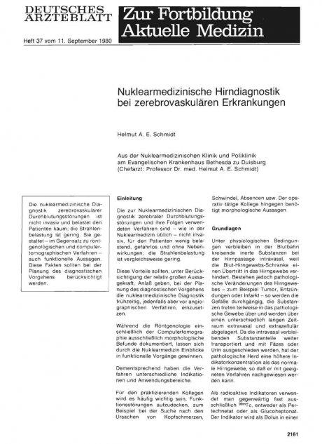 Nuklearmedizinische Hirndiagnostik bei zerebrovaskulären Erkrankungen