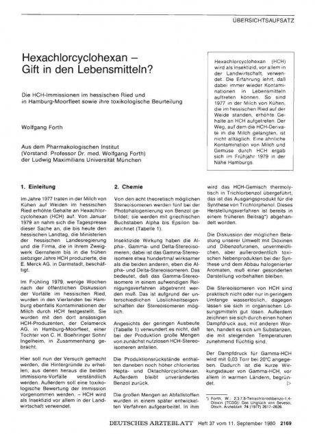 Hexachlorcyclohexan — Gift in den Lebensmitteln?Die HCH-Immissionen im hessischen Ried und in Hamburg-Moorfleet sowie ihre toxikologische Beurteilung