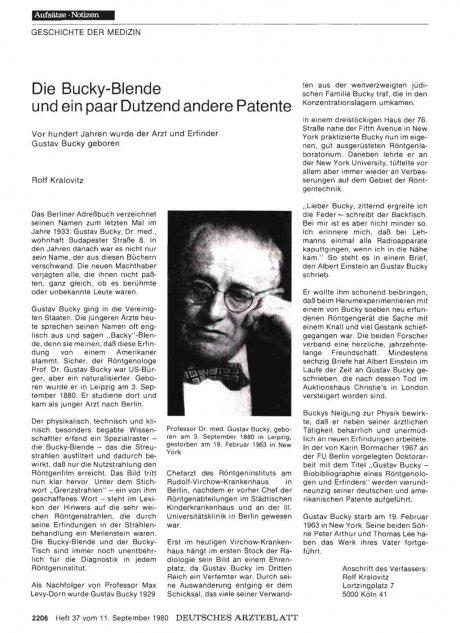 Die Bucky-Blende und ein paar Dutzend andere Patente: Vor hundert Jahren wurde der Arzt und Erfinder Gustav Bucky geboren
