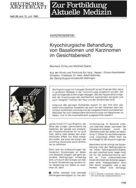 Kryochirurgische Behandlung von Basaliomen und Karzinomen im Gesichtsbereich