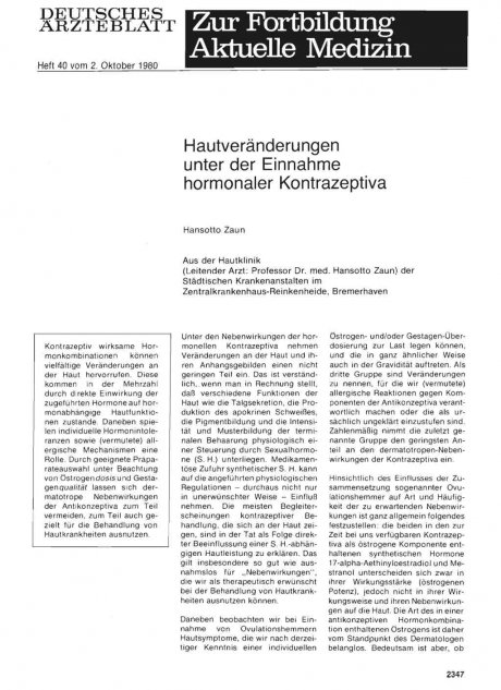 Hautveränderungen unter der Einnahme hormonaler Kontrazeptiva