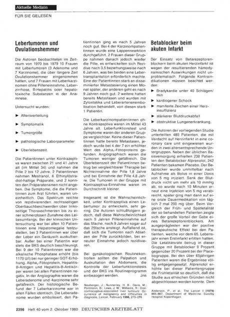Lebertumoren und Ovulationshemmer