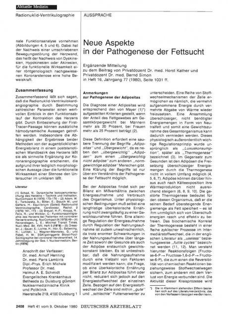 Neue Aspekte in der Pathogenese der Fettsucht