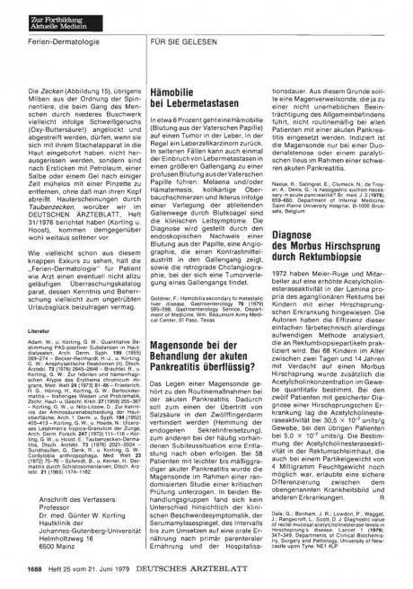 Diagnose des Morbus Hirschsprung durch Rektumbiopsie