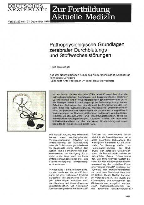 Pathophysiologische Grundlagen zerebraler Durchblutungsund Stoffwechselstörungen