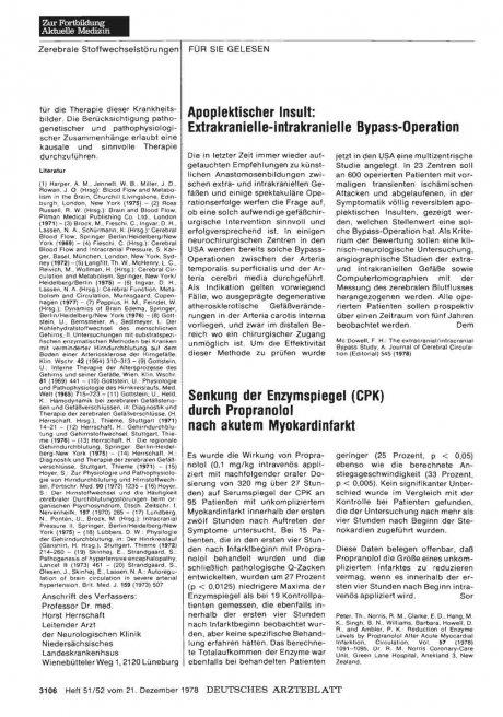 Senkung der Enzymspiegel (CPK) durch Propranolol nach akutem Myokardinfarkt
