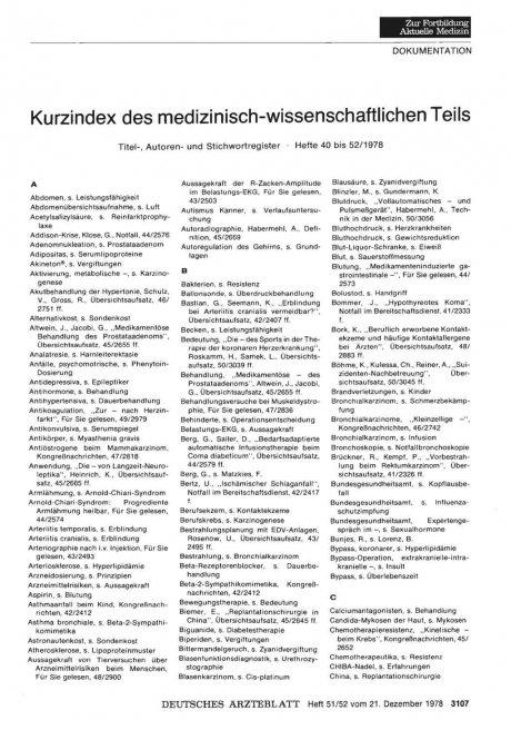 Kurzindex des medizinisch-wissenschaftlichen Teils: Titel-, Autoren- und Stichwortregister • Hefte 40 bis 52/1978