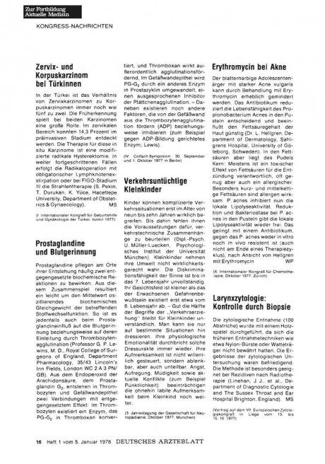 Prostaglandine und Blutgerinnung