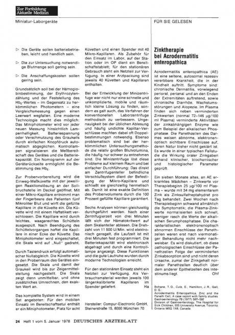 Zinktherapie bei Acrodermatitis enteropathica