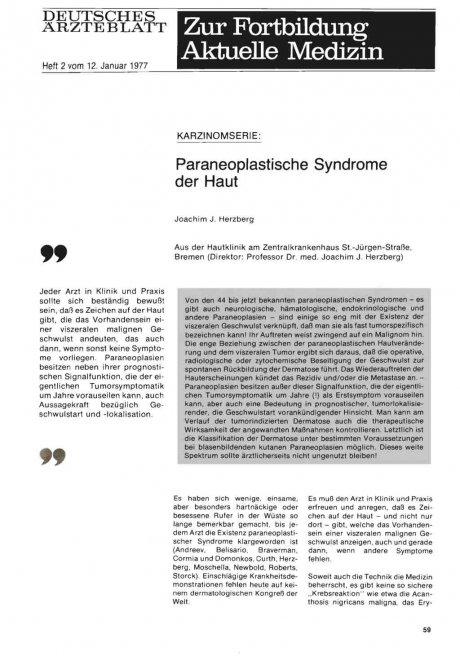Karzinomserie: Paraneoplastische Syndrome der Haut