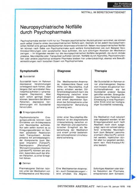 Neuropsychiatrische Notfälle durch Psychopharmaka