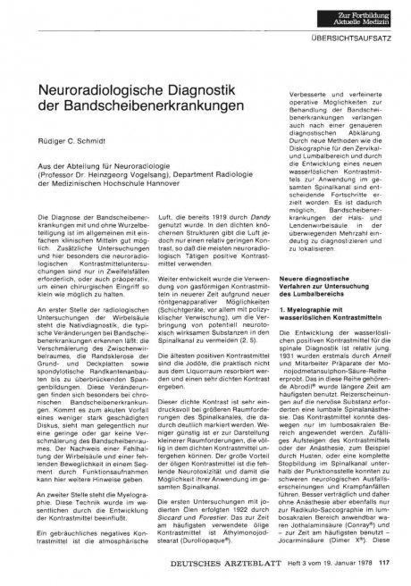 Neuroradiologische Diagnostik der Bandscheibenerkrankungen