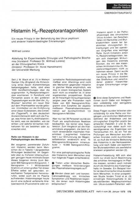 Histamin H2- Rezeptorantagonisten