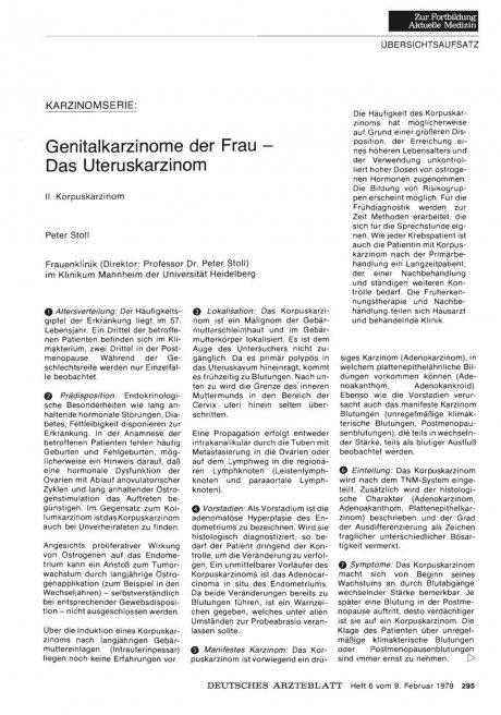 Karzinomserie: Genitalkarzinome der Frau — Das Uteruskarzinom