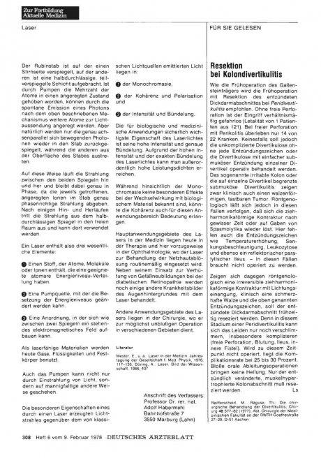 Resektion bei Kolondivertikulitis