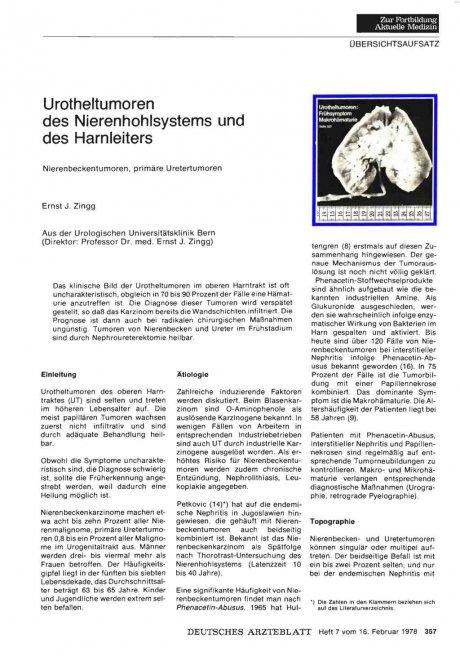 Urotheltumoren des Nierenhohlsystems und des Harnleiters