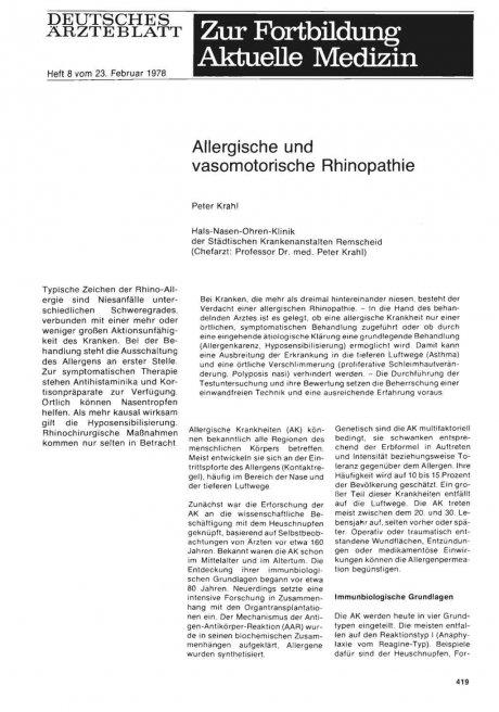 Allergische und vasomotorische Rhinopathie