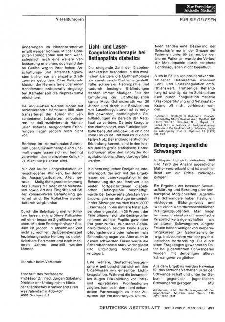 Licht- und Laser- Koagulationstherapie bei Retinopathia diabetica