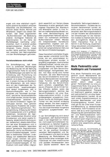 Akute Pankreatitis unter Azathioprin und Furosemid