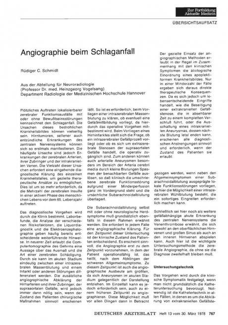 Angiographie beim Schlaganfall