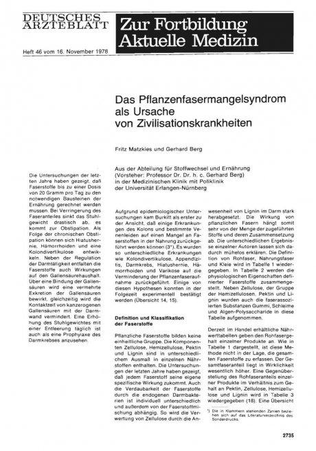 Das Pflanzenfasermangelsyndrom als Ursache von Zivilisationskrankheiten