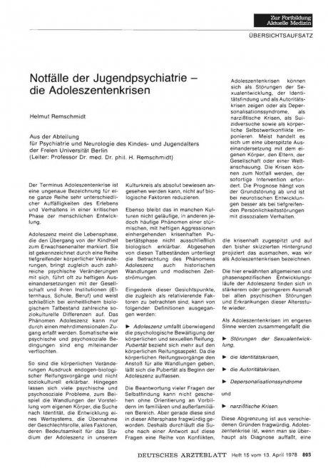 Notfälle der Jugendpsychiatrie die Adoleszentenkrisen