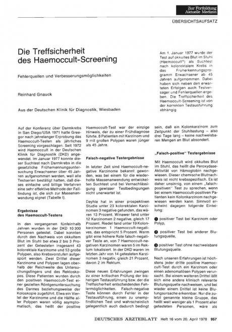 Die Treffsicherheit des Haemoccult-Screening