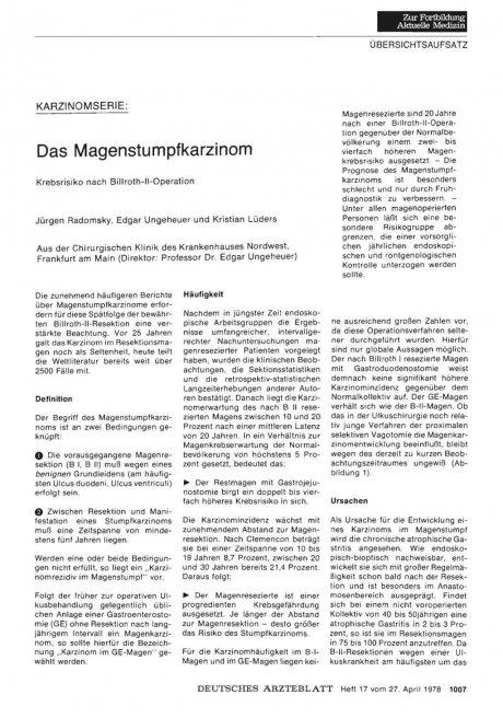 Karzinomserie: Das Magenstumpfkarzinom