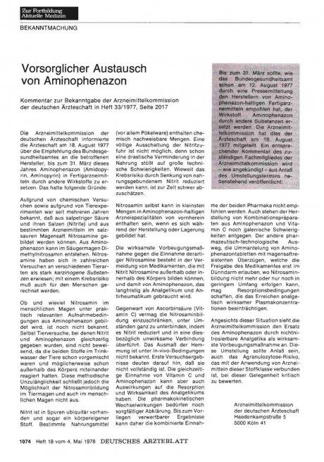 Vorsorglicher Austausch von Aminophenazon