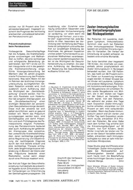 Zoster-Immunglobuline zur Varizellenprophylaxe bei Risikopatienten