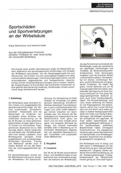 Sportschäden und Sportverletzungen an der Wirbelsäule
