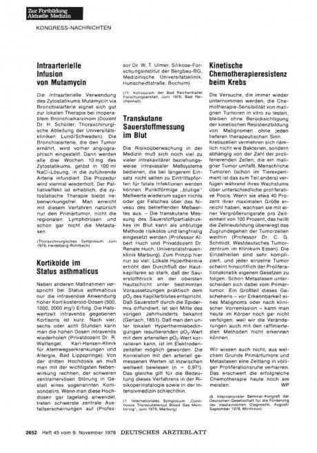 Intraarterielle Infusion von Mutamycin