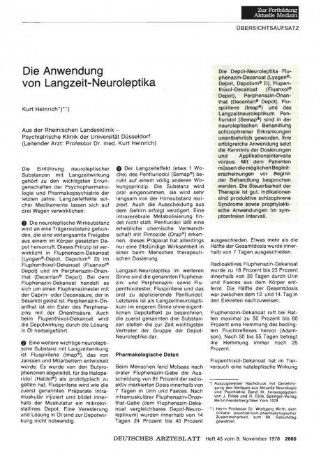 Die Anwendung von Langzeit-Neuroleptika