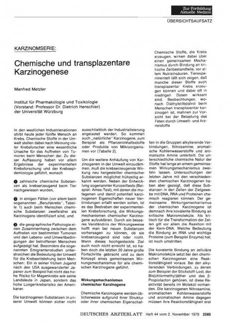 KARZINOMSERIE: Chemische und transplazentare Karzinogenese
