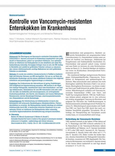 Kontrolle von Vancomycin-resistenten Enterokokken im Krankenhaus