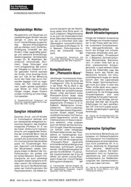 """Komplikationen der """"Phenazetin-Niere"""""""